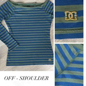 DC Off-Shoulder Blue & Green Stripe Top Size S